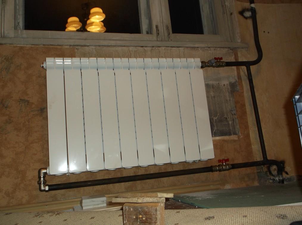Диагональная схема  Подача сверху   Установка радиатора отопления