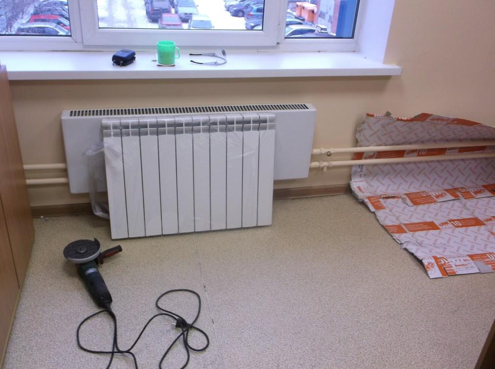 Установка радиаторов отопления в офисе
