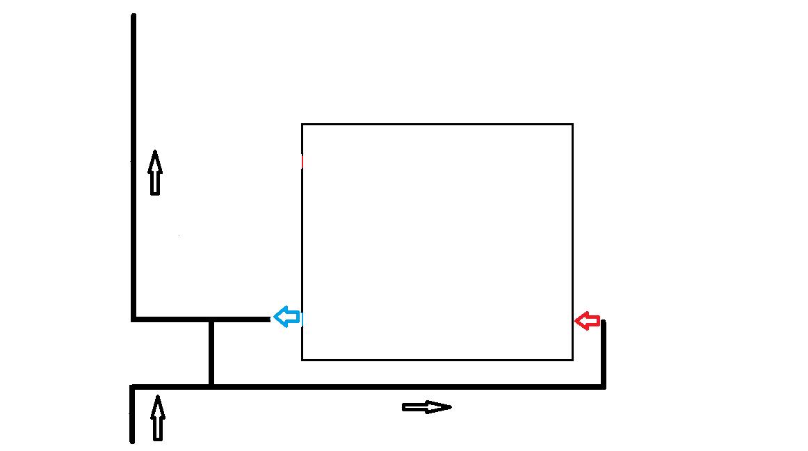 Нижняя схема подключения радиатора. Подача снизу.