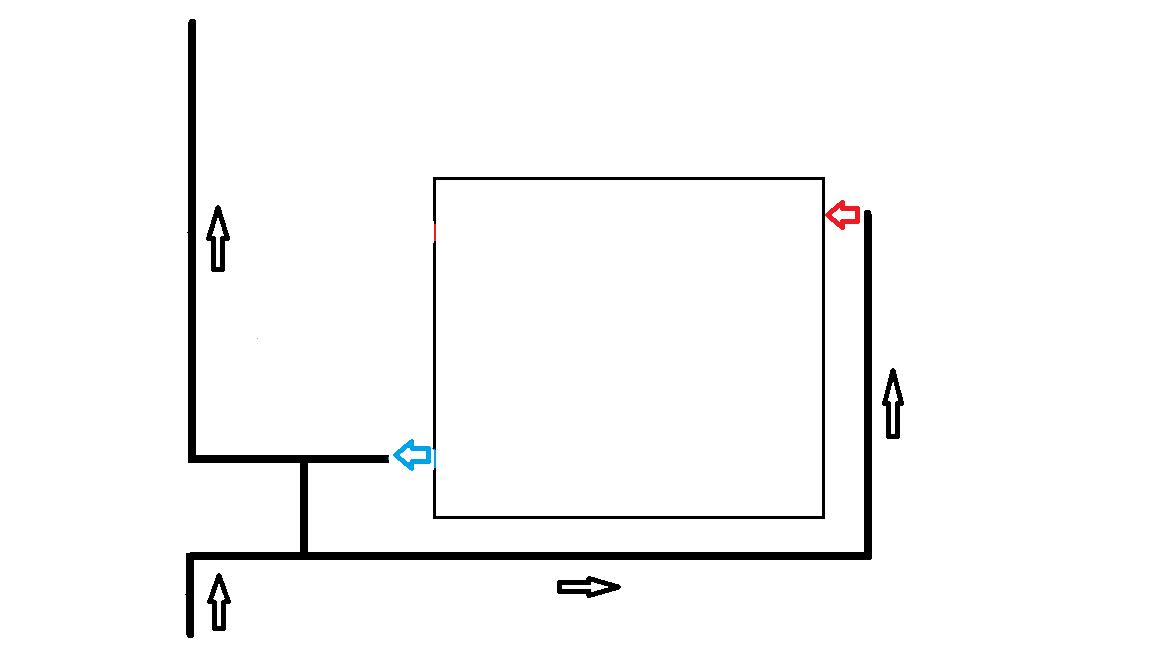 Диагональная схема подключения радиатора. Подача снизу.